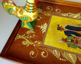 Magnificent Tray Scandinavian Hand Painted with Carved Bird Skal
