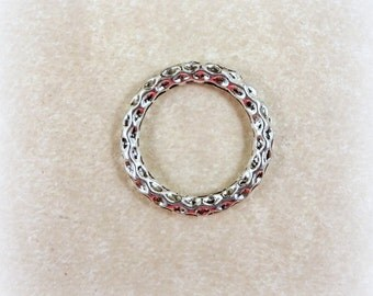 Link, Connector, Ring - Textured Round Circle Link Ring (10805-NFAS) - Antiqued Silver - 24x3mm - Qty. 12