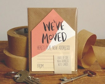 New Address Cards Pack Of 6 Miniature Houses 'We've Moved' // New Address Note Cards // Moving Cards // Change Of Address