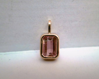 Lovely Pink Tourmaline Pendant in 14K Gold
