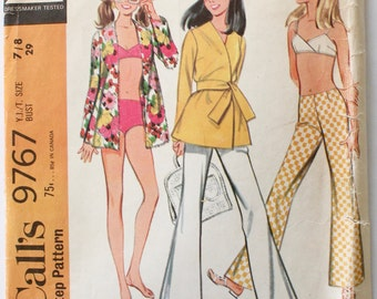 Vintage 1960s Women's Bikini Swimsuit/Beach Wrap and Pants Sewing Pattern Size 7/8 Teen Bust 29 McCall's 9767