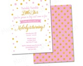 Twinkle Twinkle Little Star Birthday Invitation, Pink and Gold Birthday Invitation, Twinkle Twinkle Little Star First Birthday Invitation