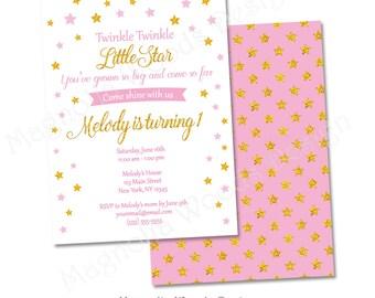 Twinkle Twinkle Little Star Birthday Invitation, Pink and Gold Birthday Invitation, Twinkle Twinkle Little Star First Birthday Invitation