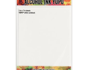 """Alcohol ink, YUPO white cardstock 5"""" x 7"""" by Tim Holtz, Ranger Inks"""