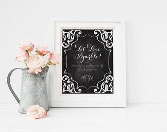 """INSTANT DOWNLOAD - Let Love Sparkle Sign 8.5x11"""" DIY Wedding Poster... Black"""
