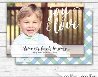 Photo Christmas Card, Photo Holiday Card, Christmas Card, Love and Joy, Printable Digital File or Printed, Classic Christmas