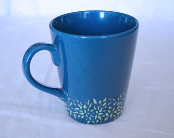FREE SHIPPING Hand Painted Blue Mug with Wreath