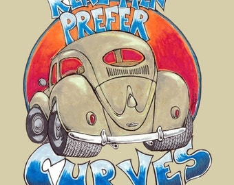 "The Rusty VW T-shirt ""Real Men Prefer Curves"" oval, bug, beetle, fatty, vw, volkswagen, 1954-1957"