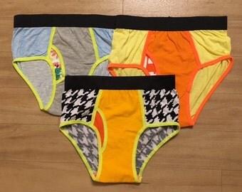 SET OF 3 - 100% Recycled T-Shirt Handmade Men's Brief Underwear PanTees: Black-White Patterns, Medium Yellow & Striped Blue (Sz S)