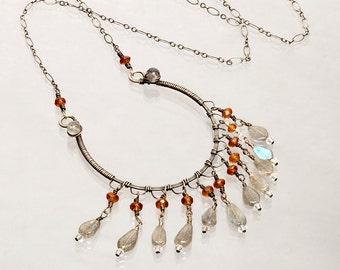 Sterling Silver, Copper, Gemstone Necklace. Labradorite, Hessionite Fringe, Wirewrapped, Art Nouveau Original Design, Swarovski Crystals.