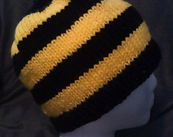 Hand Knit Black and Yellow Striped Beanie