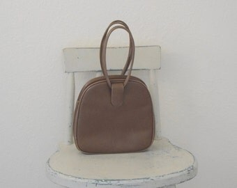 Medium Brown Leather 'Holzman' / Champagne Gold Satin Lined Purse with Attached Coin Purse / Handbag