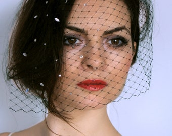 Black birdcage veil with crystals strass statement,black french netting,crystals headpiece, glamour hairpiece black