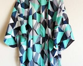 Women Beach Kimono Geo Print Swimsuit Cover Up Robe Caftan Black Mint Gray