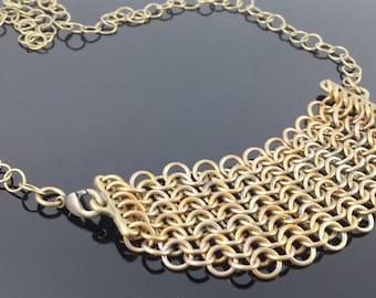 European 4-in-1 Brass Bib Chain Mail Necklace