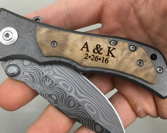 Monogram Knife, Custom Knives, Pocket Knife, Hunting Knife,  Personalized Knife,  Engraved Knives, Wood Knife, Folding Knife