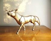 Vintage Brass Bull Figurine, Steer Statue, Farm Animal Collectible, Large, Stock Market