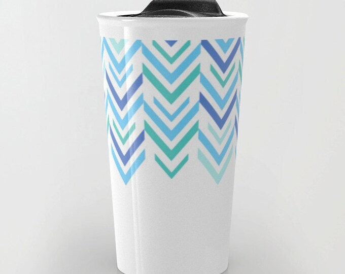 Blue Travel Mug - Blue and White Arrow Art - Coffee Travel Mug - Hot or Cold Travel Mug - 12oz Travel Mug -Made to Order