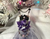Dress Ornament Purple Black Pearls Christmas Holiday