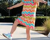 Girls Chevron Dress-peasant dress,short sleeve, spring dress, elastic neck, baby, toddler, girls, spring dress, Easter dress
