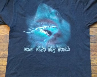 Bona Fide Big Mouth Great White Shark T-Shirt XL Discovery Channel Official Iridescent Sparkles Plus Size