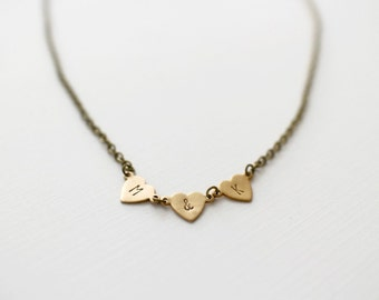 Personalize Couple Brass Heart Necklace