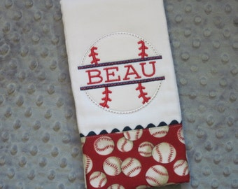 BATTER UP! Personalized Baby Boy Burp Cloth