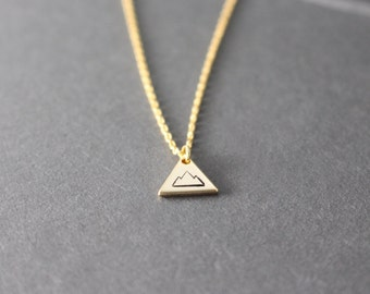Little Triangle Mountain Necklace - hand stamped necklace - gold mountain necklace - adventure necklace