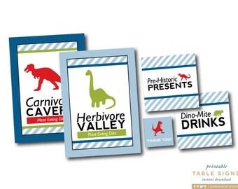 Dinosaur Table Signs, Dino Favor Tags, Dino Birthday Decor, Dinomite Birthday, Herbivore Valley, Red Blue Green Dino, INSTANT DOWNLOAD, #40