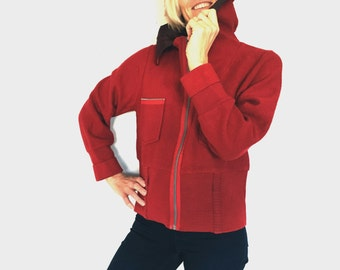 Red jacket by D Jensen Red Wool jacket Vintage woolen jacket with a large collar