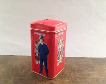 English vintage tin box Red Royal Mail Tin box English telephone Money Box Kitchen storage box Tin container made in England