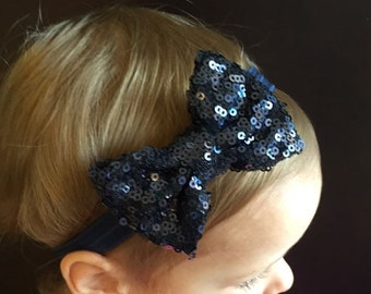 Navy Bow Headband..Bows..Newborn Headband..Baby Girl Headband.Bow Headband..Baby Headband..Toddler Bow Headband..Baby Bow