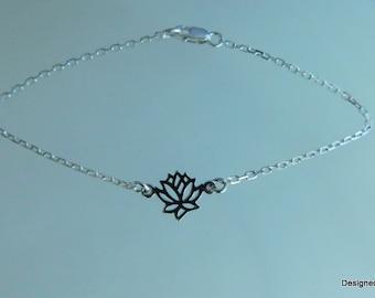 Sterling silver lotus flower anklet, high heel anklet, sandal jewelry, yoga jewelry, wedding jewelry, yoga anklet / bracelet