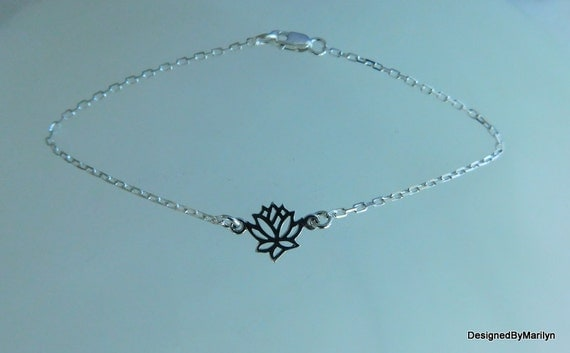 Sterling silver lotus flower anklet, high heel anklet, sandal jewelry, yoga jewelry, wedding jewelry, yoga anklet / bracelet