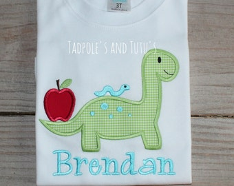 Dino with Apple Applique Shirt- Personalized Dino with Apple Shirt or Bodysuit- Personalized Dino Applique Shirt