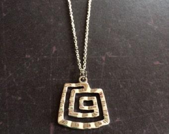 Square Necklace - Square Pendant - Geometric Necklace - Geometric Jewelry - Geometric Pendant - Silver Necklace - Silver Necklace Pendant
