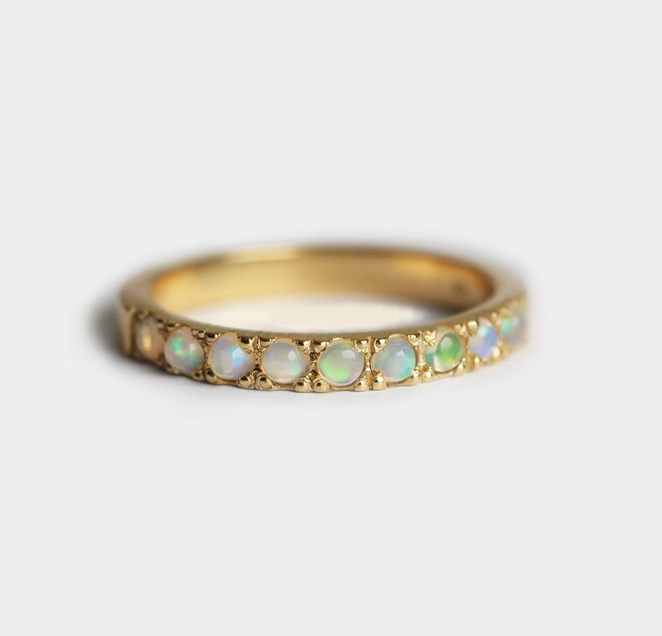 Opal Cabochon Ring Opal Wedding Band Opal Wedding Ring Pave