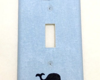 Whales Light Switch Plate Cover / Outlet Cover / Bedroom / Home Decor / Housewarming Gift / Nursery Decor / Kid's Room / Nautical / Navy