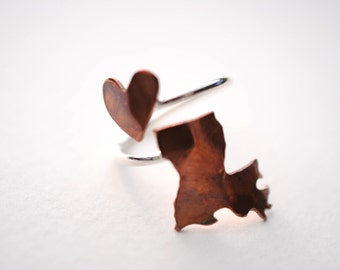Louisiana Twist Place Ring (Sterling Silver & Copper Place State Love Map Ring)