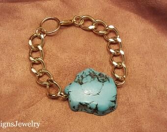 Turquoise Stone Statement Bracelet- Chain Statement Bracelet