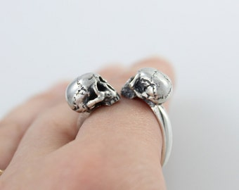 Infinity Double Skull Wrap Ring Skull Ring Sterling Silver Jewelry