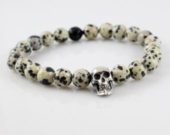 Faceted Dalmation Jasper and Black Onyx Beaded Stretch Bracelet with Sterling Silver Skull