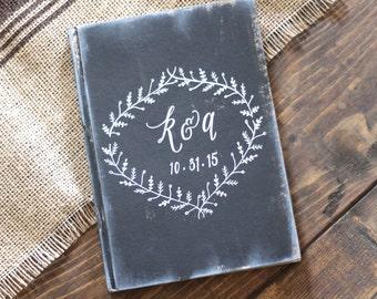 Rustic Guest Book with Hand Painted Wreath, Sign In Book, Rustic Vintage Weddings, Wedding Keepsake