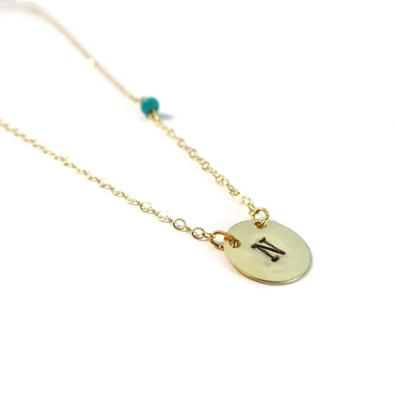 Gold Hand Stamp Initial Necklace with Turquoise Bead