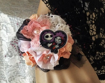 Jack Skellington-Wrist Corsage,Nightmare B4 Christmas,Theme Weddings,Black&Pink Corsage,Unique Corsage,Fabric Corsage,Prom,Formal,Dance