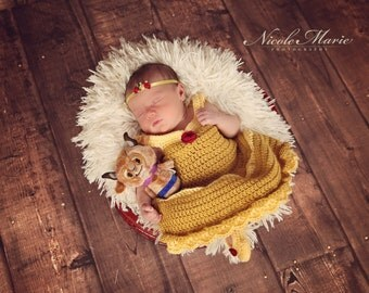 Crochet Baby Princess Belle-Inspired Set, Infant Costume, 3-piece Photo Prop, Made to Order, Newborn Sizes