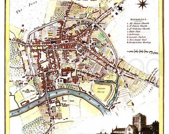 Hereford 1807 - Antique English Map of the city of Hereford by J.Roper - PRINT