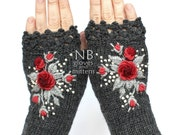 RESERVED- for Brenda H, Knitted Fingerless Gloves, Dark Grey, Red, Gray, Roses, Gloves & Mittens, Gift Ideas, For Her, Winter Accessories