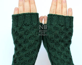Hand Knitted Fingerless Gloves, Dark Green, Gloves & Mittens, READY TO SHIP, size M, M/L