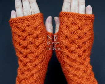 Hand Knitted Fingerless Gloves, Orange, Gloves & Mittens